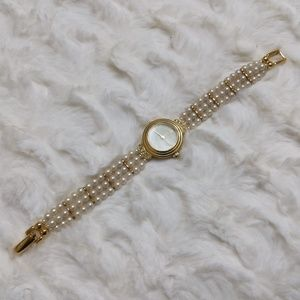 Vintage 14K Gold Plated Pearl Peugeot Quartz Watch